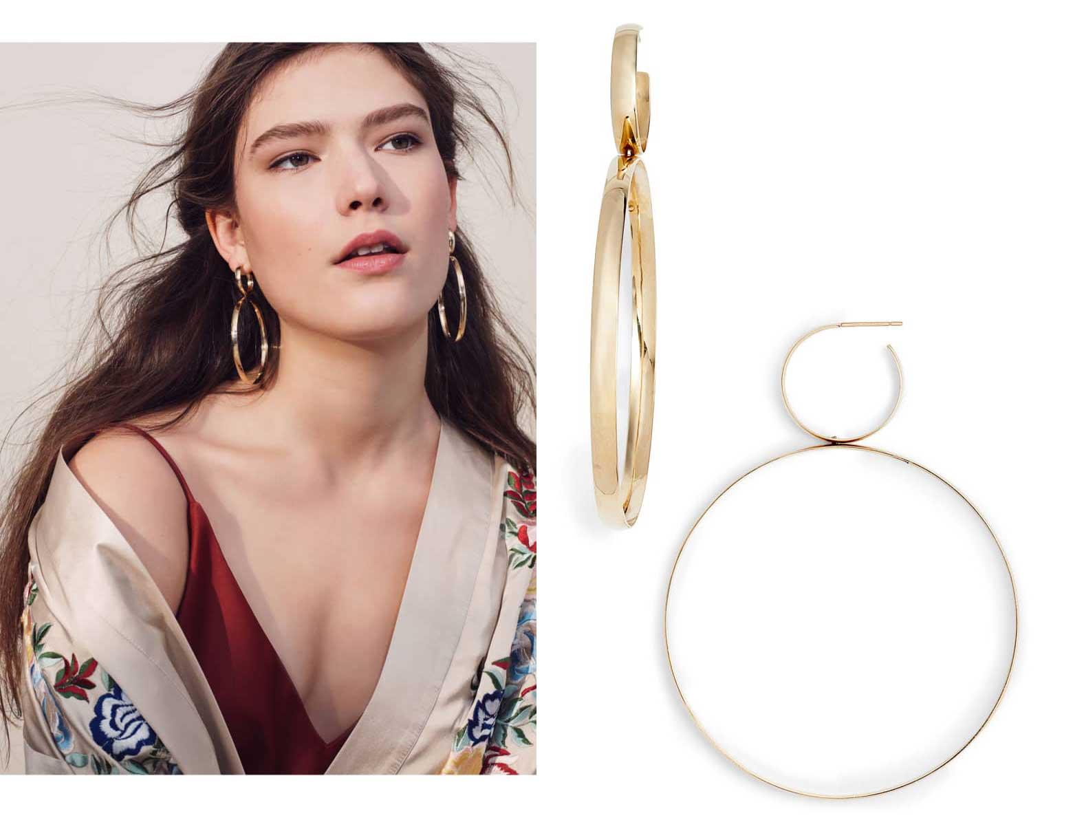 Double Bubble Drop Hoop Earrings by Lana Jewelry, Runway Jewelry Trends 2019