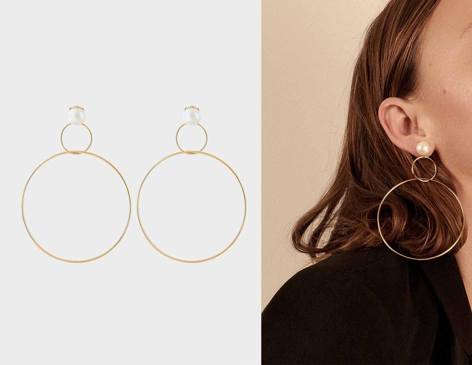 Double Drop Hoop Earrings with Pearl, Runway Jewelry Trends 2019