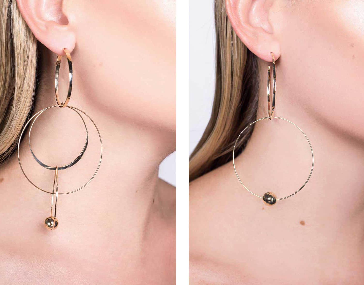 Flat Wire Mixed Hoop Drop Earrings and Bond Link Double Hoop Earrings by Lana Jewelry, Runway Jewelry Trends 2019