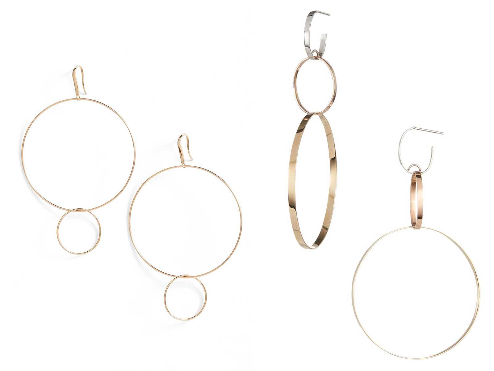 Frontal Hoop Earrings and Three-Link Hoop Drop Earrings by Lana Jewelry, Runway Jewelry Trends 2019