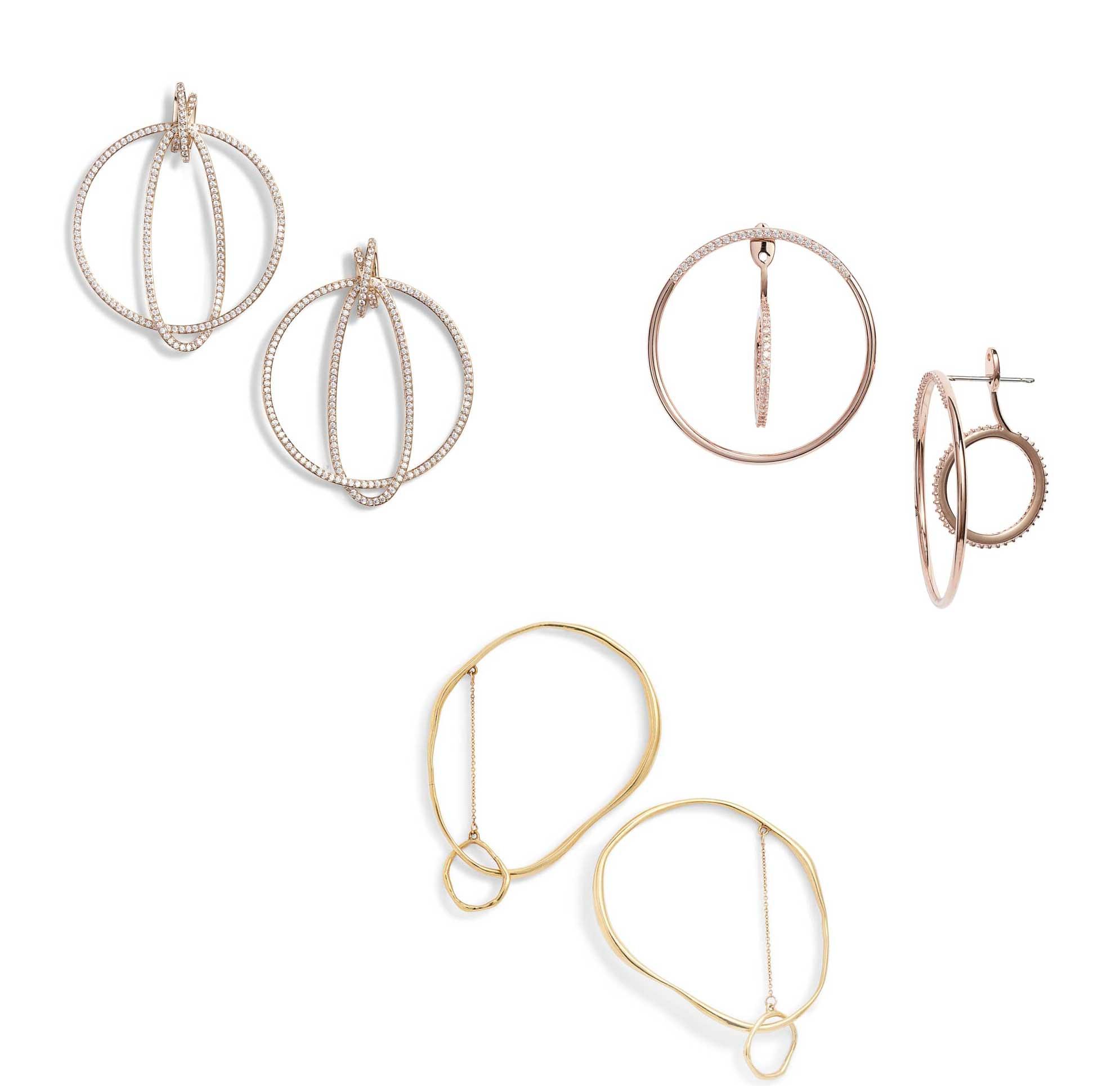 Jute Orbiting Earrings, Intersecting Hoop Ear Jackets by Nadri and Vero Lunaire Earrings by Faris - Runway Jewelry Trends 2019
