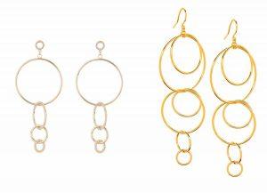 Multi Hoop Statement Earrings and Interlocked Hoop Drop Earrings, Runway Jewelry Trends 2019