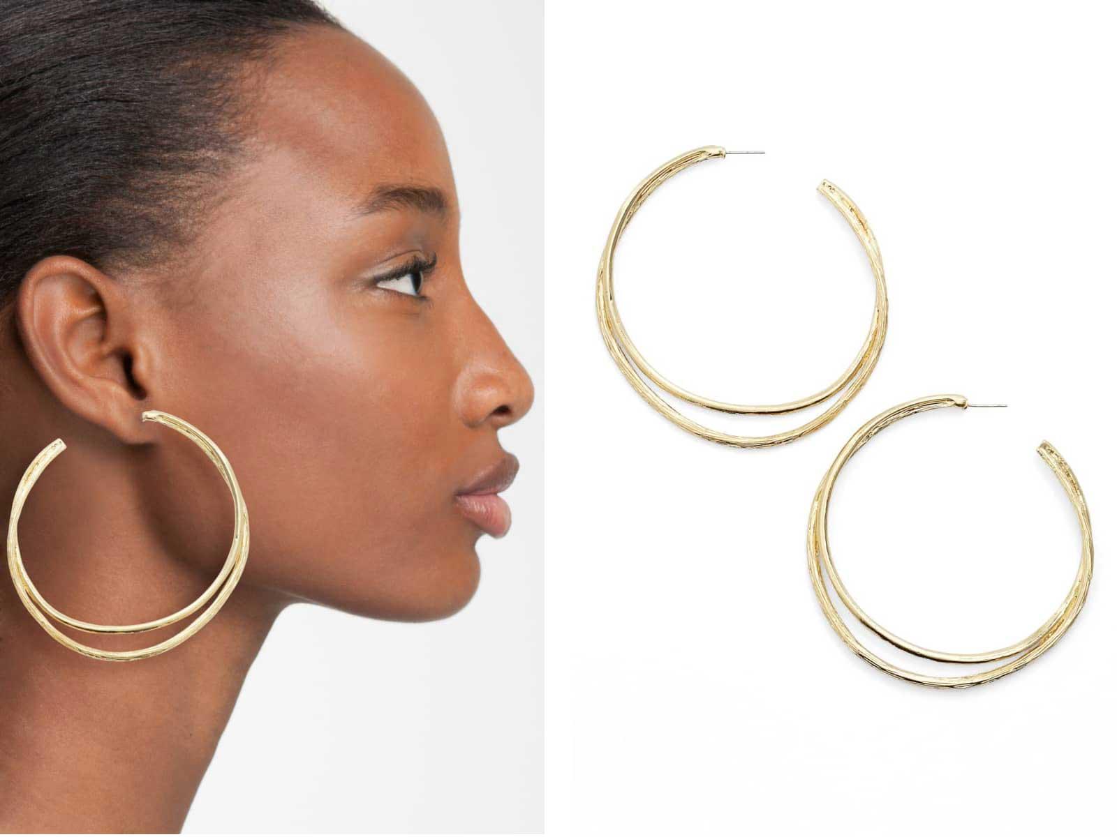 Split Hoop Earrings by Karine Sultan, Runway Jewelry Trends 2019