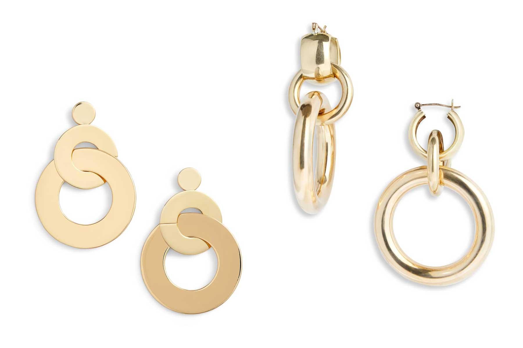 TGIF Earrings by Jenny Bird and Amara Interlocking Hoop Earrings by Laura Lombardi, Runway Jewelry Trends 2019