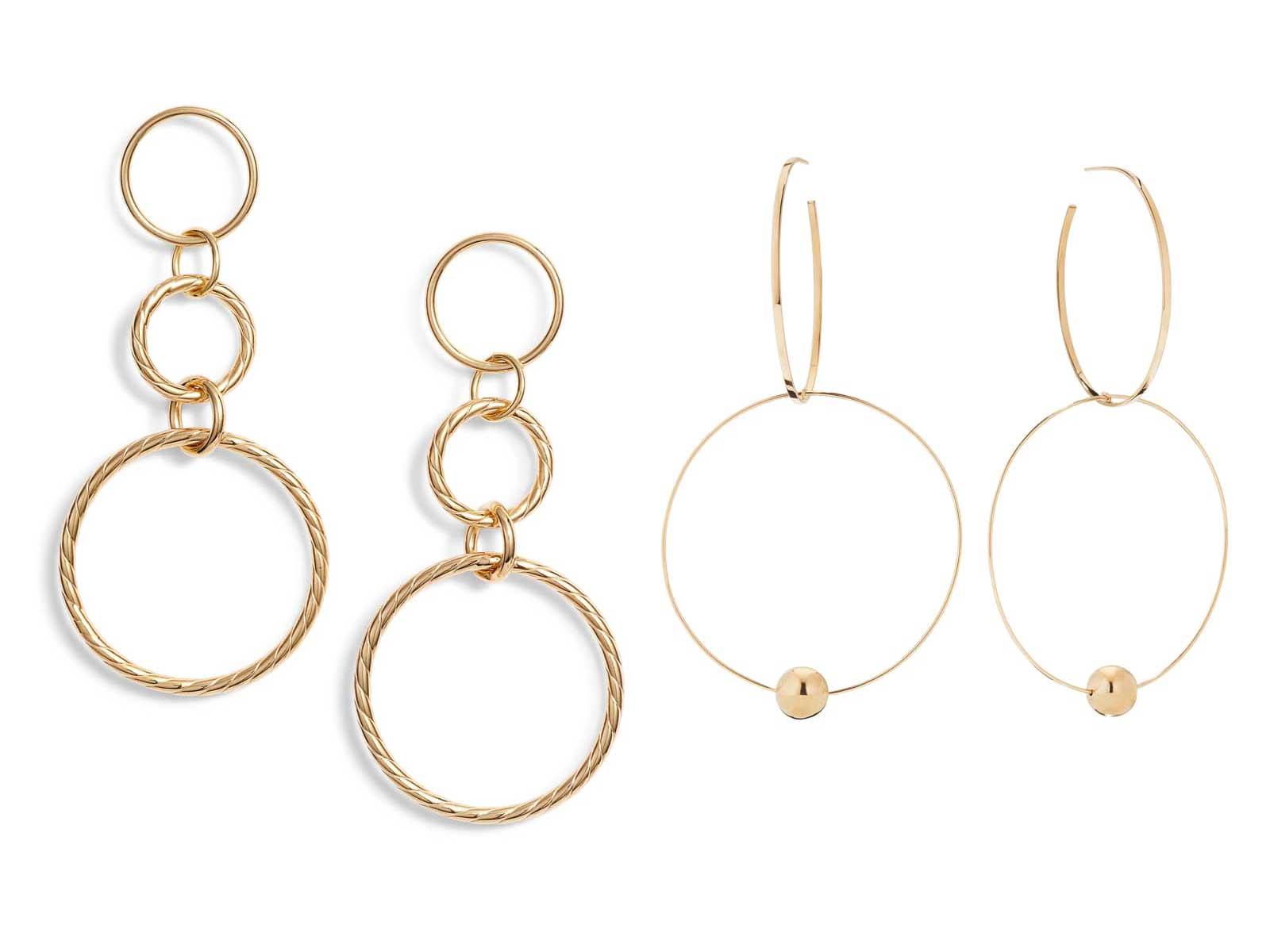 Triple Drop Rope Earrings by Argento Vivo and Bond Link Double Hoop Earrings by Lana Jewelry, Runway Jewelry Trends 2019